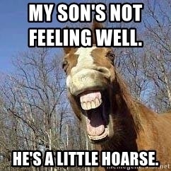 Horse - My son's not feeling well.                     he's a little hoarse.