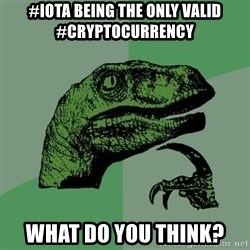 Raptor - #iota being the only valid #cryptocurrency What do you think?