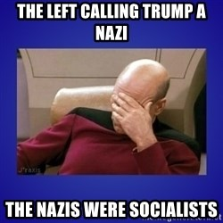 Picard facepalm  - The left calling Trump a nazi the nazis were socialists