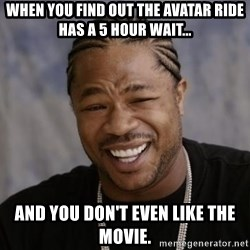 xzibit-yo-dawg - When you find out the avatar ride has a 5 hour wait... And you don't even like the movie.