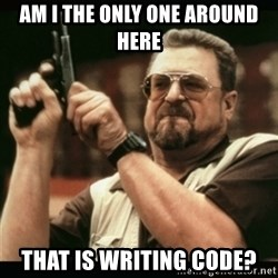 am i the only one around here - Am i the only one around here that is writing code?