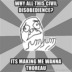 Whyyy??? - why all this civil disobedience? its making me wanna thoreau