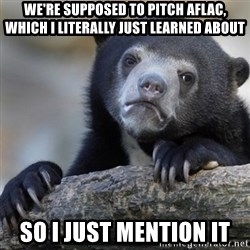 Confession Bear - we're supposed to pitch aflac, which i literally just learned about so i just mention it