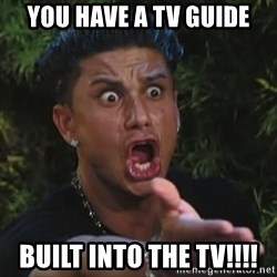 Pauly D - You have a tv guide built into the tv!!!!