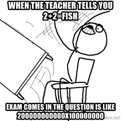 Desk Flip Rage Guy - WHEN the teacher tells you 2+2=fish Exam comes in the QUESTION is like 200000000000x100000000