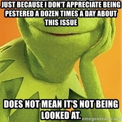 Kermit the frog - Just because I don't appreciate being pestered a dozen times a day about this issue does not mean it's not being looked at.