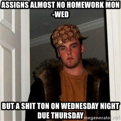 Scumbag Steve - assigns almost no homework mon-wed but a shit ton on wednesday night due thursday