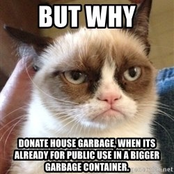 Grumpy Cat 2 - But why  donate house garbage, when its already for public use in a bigger garbage container.