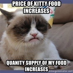 Birthday Grumpy Cat - price of kitty food increases  quanity supply of my food increases