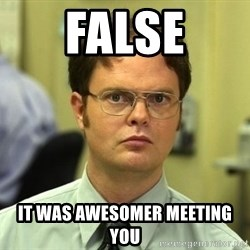 False guy - FALSE IT WAS AWESOMER MEETING YOU