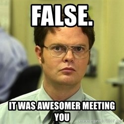 False guy - false. it was awesomer meeting you
