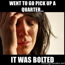 First World Problems - Went to go pick up a quarter... It was bolted