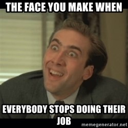 Nick Cage - The face you make when  everybody stops doing their job