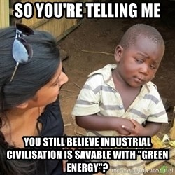 """Skeptical 3rd World Kid - So you're telling me You still believe industrial civilisation is SAVABLE with """"green energy""""?"""