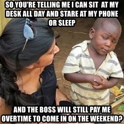So You're Telling me - SO YOU'RE TELLING ME I CAN SIT  AT MY DESK ALL DAY AND STARE AT MY PHONE OR SLEEP AND THE BOSS WILL STILL PAY ME OVERTIME TO COME IN ON THE WEEKEND?