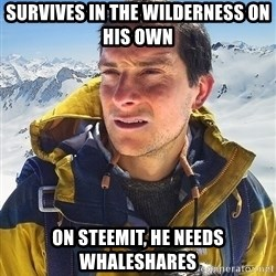 Bear Grylls Loneliness - SURVIVEs In tHE WILDERNESS on HIS own on steemit, He needs whaleshares