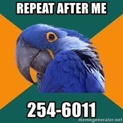 Paranoid Parrot - repeat after me 254-6011