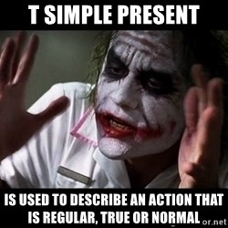 joker mind loss - T SIMPLE PRESENT is used to describe an action that is regular, true or normal