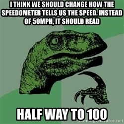Philosoraptor - I think we should change how the speedometer tells us the speed. Instead of 50MPH, it should read HALF WAY TO 100