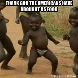 Black Kid - thank god the americans have brought us food