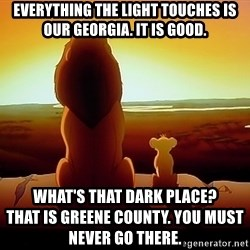 simba mufasa - Everything the light touches is our georgia. It is good. What's that dark place?                         That is greene county. You must never go there.