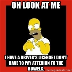 Homer retard - oh look at me i have a driver's LICENSE i don't have to pay attenion to the ruwels.