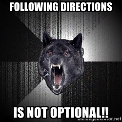 Insanity Wolf - Following Directions is not optional!!