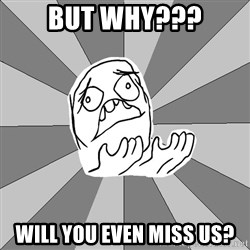 Whyyy??? - But why??? Will you even miss us?