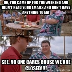 See? Nobody Cares - Oh, you came up for the weekend and didn't read your emails and don't have anything to eat See, no one cares cause we are closed!!!!