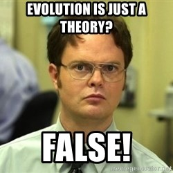 Dwight Meme - Evolution is just a theory? False!