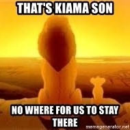 The Lion King - that's kiama son no where for us to stay there