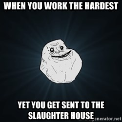 Forever Alone - When you work the hardest Yet you get sent to the slaUghter house