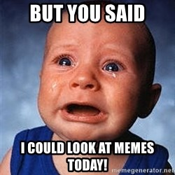 Crying Baby - but you said i could look at memes today!