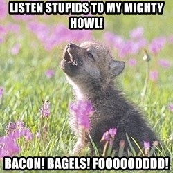 Baby Insanity Wolf - Listen stupids to my mighty howl! Bacon! bagels! FOOOOODDDD!