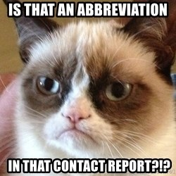 Angry Cat Meme - Is that an ABBREVIATION  in that contact report?!?