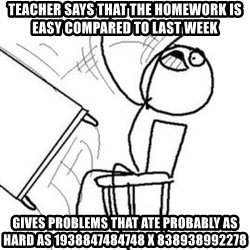 Flip table meme - Teacher says that the Homework is easy cOmpared to last week Gives problems that ate probably as hard as 1938847484748 x 838938992278