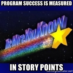 The more you know - program success is measured in STORY POINTS