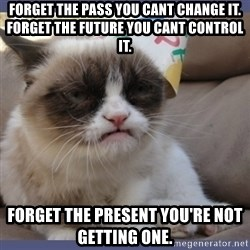Birthday Grumpy Cat - Forget the pass you cant change it. forget the future you cant control it. forget the present you're not getting one.