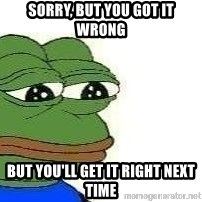 Sad Frog - sorry, but you got it wrong but you'll get it right next time