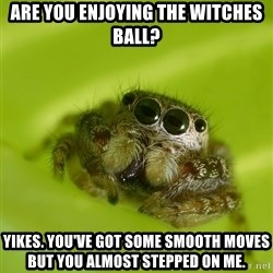 The Spider Bro - Are you enjoying the witches ball? Yikes. You've got some smooth moves but you almost stepped on me.