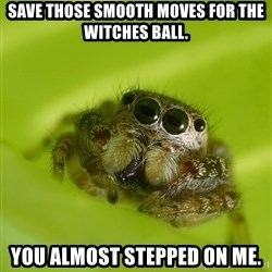 The Spider Bro - save those smooth moves for the witches ball. You almost stepped on me.