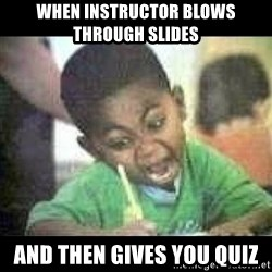 Black kid coloring - when instructor blows through slides and then gives you quiz