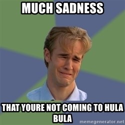 Sad Face Guy - Much sadness That youre not coming to hUla bula