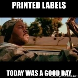 Ice Cube- Today was a Good day - Printed labels today was a good day