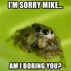 The Spider Bro - i'm sorry mike... am i boring you?