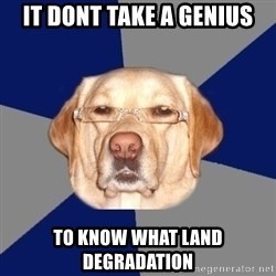 Racist Dawg - it dont take a genius to know what land degradation
