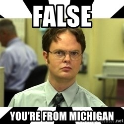 Dwight from the Office - False You're from Michigan