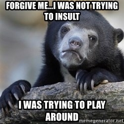 Confession Bear - Forgive me...I was not trying to insult I was trying to play around