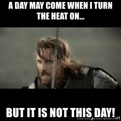 But it is not this Day ARAGORN - A day may come when I turn the heat on... But it is not this day!