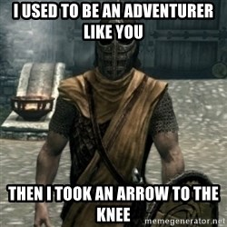 skyrim whiterun guard - i used to be an adventurer like you then i took an arrow to the knee